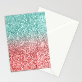 Summer Vibes Glitter #2 #coral #mint #shiny #decor #society6 Stationery Cards