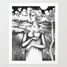 Portrait of a Woman Holding Something Art Print