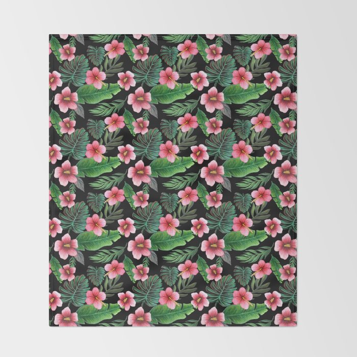 Palm and hibiscus Tropical Watercolor pattern Throw Blanket
