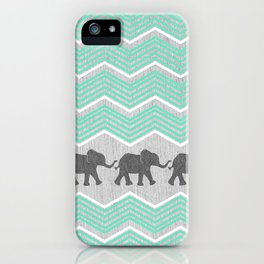 Three Elephants - Teal and White Chevron on Grey iPhone Case