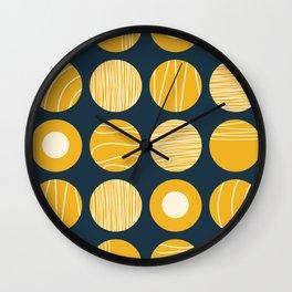 Kugeln - Minimalist Decorated Dot Pattern in Mustard Yellow and Navy Blue Wall Clock