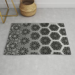 Black and Silver Honeycomb Illusion Graphic Design Pattern Rug