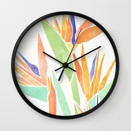 Birds of Paradise ~ tropical bouquet Wall Clock