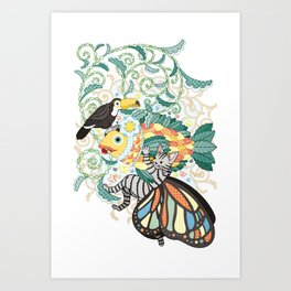Plant fish and Butterfly cat and Toco toucan (remake) Art Print