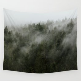 Pacific Northwest Foggy Forest Wall Tapestry