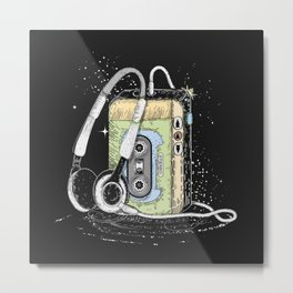 portable cassette player with headphone Metal Print