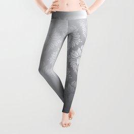 """Neutral gray Damask Pattern"" Leggings"