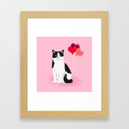 Cat valentines day love heart balloons cat breed must have Framed Art Print