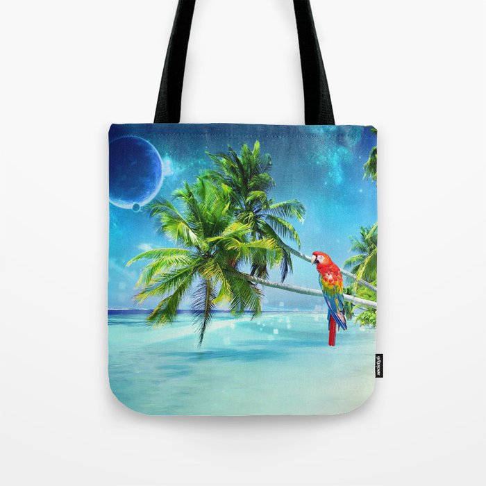 Parrot in the beach Tote Bag