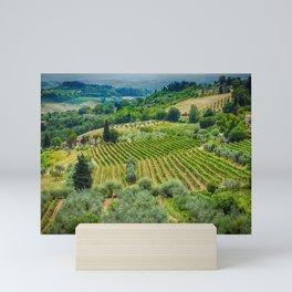 Tuscany Hillside, San Gimignano, Italy Mini Art Print
