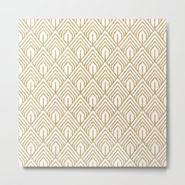 Modern White and Gold Geometric Abstract Pattern Metal Print