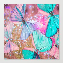 Turquoise butterflies on a pink background - lovely summer mood Canvas Print