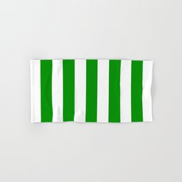 Islamic green - solid color - white vertical lines pattern Hand & Bath Towel