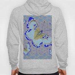 ORIENTAL STYLE BLUE-WHITE EXOTIC BUTTERFLY BLUE ART Hoody