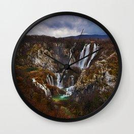 Mystical Waterfalls in Fall Wall Clock