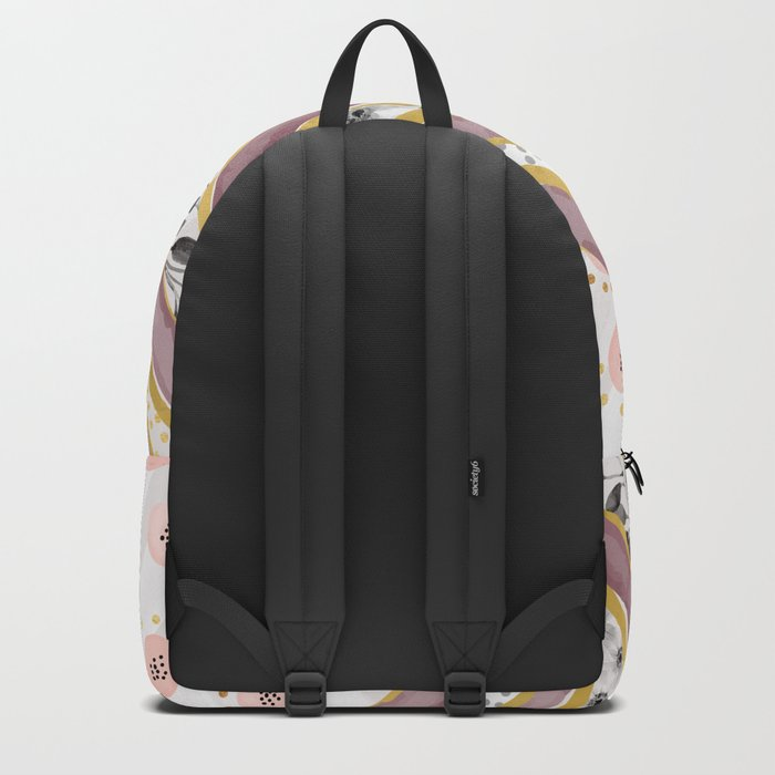 Geometrical and watercolor flowers Backpack