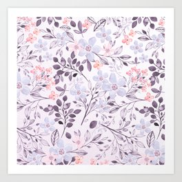 Hand painted modern pink lavender watercolor floral Art Print
