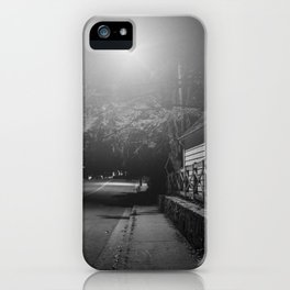 Suburban neighborhood at night with glowing street light iPhone Case