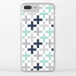 Swiss cross pattern minimal nursery basic grey and white camping cabin chalet decor Clear iPhone Case
