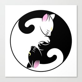 Yin yang cats in black and pink Canvas Print