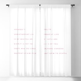 Minimalist Fuchsia Rose Typography Quote Create, Conquer & Achieve Blackout Curtain