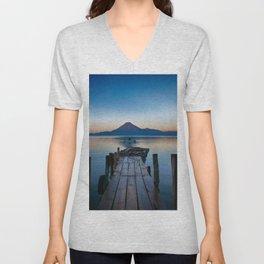 The Dock Sunset (Color) Unisex V-Neck