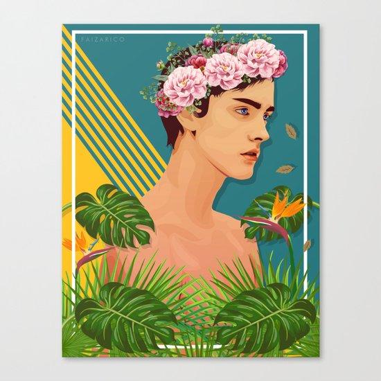 BOY OVER FLOWERS Canvas Print