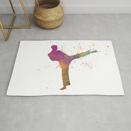 Taewondo-karate-muay thai in watercolor 03 Rug