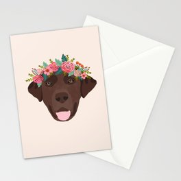 Chocolate Lab floral crown dog breed pet art labrador retrievers dog lovers giftsChocolate Lab flora Stationery Cards