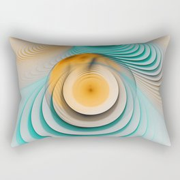 Creamy Beige-Teal Plateaus & Eggyolk Spiral Circles Rectangular Pillow