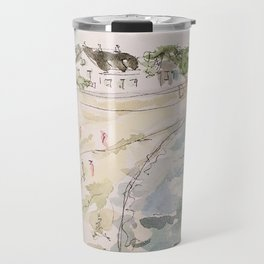 le pouliguen beach watercolor and ink painting Travel Mug