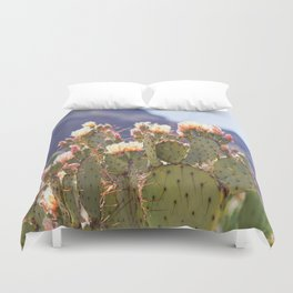Prickly Pear Cactus Blooms, II Duvet Cover