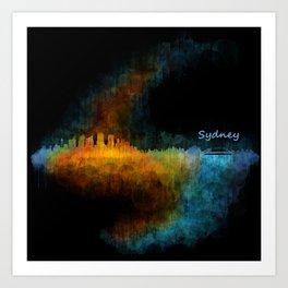 Sydney City Skyline Hq v4 Art Print