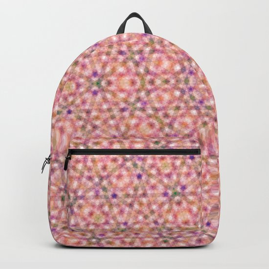 Pink Purple and Green Stripes and Triangle Pattern Backpack