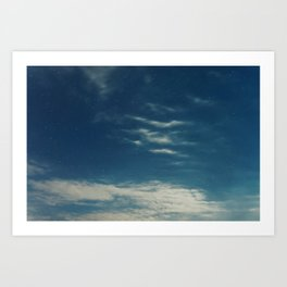 Night sky backgrounds with stars and clouds Art Print