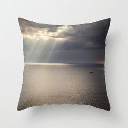 Ship on the Sea Throw Pillow