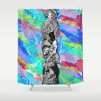 art nouveau Shower Curtains featuring nouveau by manje