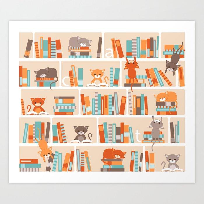 Library cats Art Print