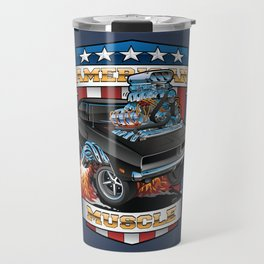 American Muscle Patriotic Classic Muscle Car Cartoon Illustration Travel Mug