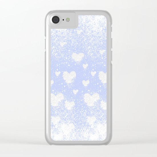 snowing hearts Clear iPhone Case