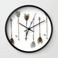 craftberrybush Wall Clocks featuring Watercolor fall arrows  by craftberrybush