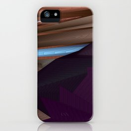 Strange psychedelic landscap with stylised mountains, sea and blue Sun. iPhone Case