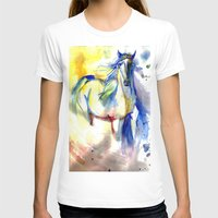 mustang T-shirts featuring Watercolor Mustang by Madkazer Designs