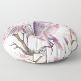 Two spoonbills on a Magnolia tree, Roseate Spoonbill, Magnolia Floor Pillow