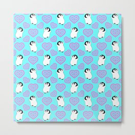 Cute happy cheerful dancing baby penguins cartoon and pretty pink hearts bright blue whimsical seamless pattern. Gifts for penguin lovers. Nursery decor ideas. Metal Print