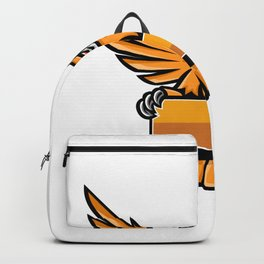 Yellow Owl Spreading Wings Banner Mascot Backpack