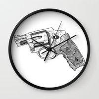 gun Wall Clocks featuring Gun by ToppArt