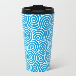 Chinese Spirals | Abstract Waves | Turquoise and White Travel Mug