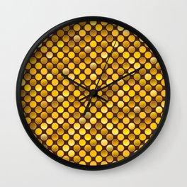 Retro 80s disco gold coins texture Wall Clock
