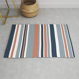 Vertical Stripes in Blues, Blush Coral, and White Rug